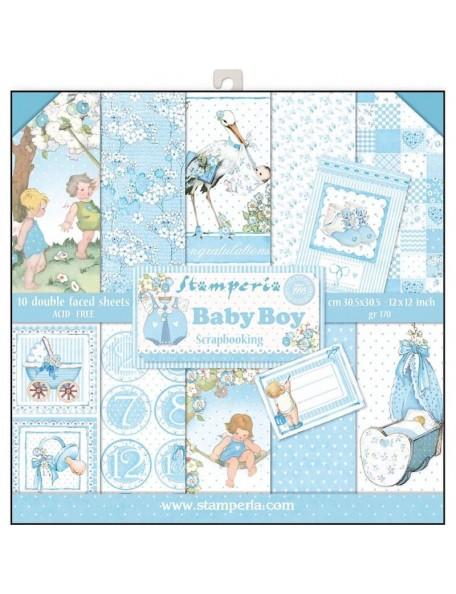 """Stamperia Paper Pad de doble cara 12""""X12"""", Baby Boy, 10 Diseños/1 de cada"""
