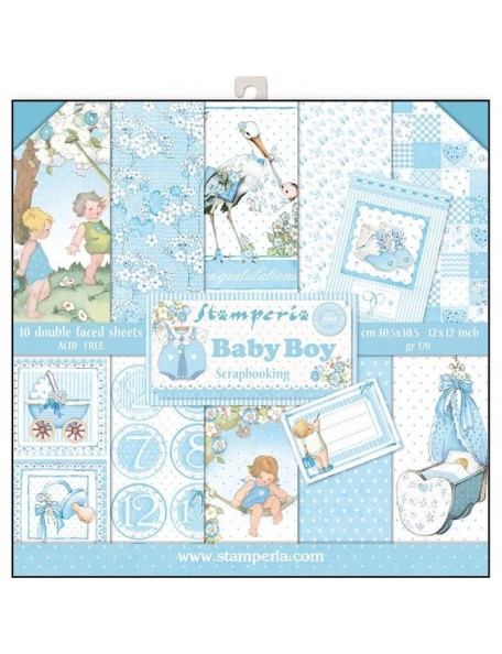 "Stamperia Stamperia Double-Sided Paper Pad 12""X12"" 10, Baby Boy, 10 Designs/1 Each"