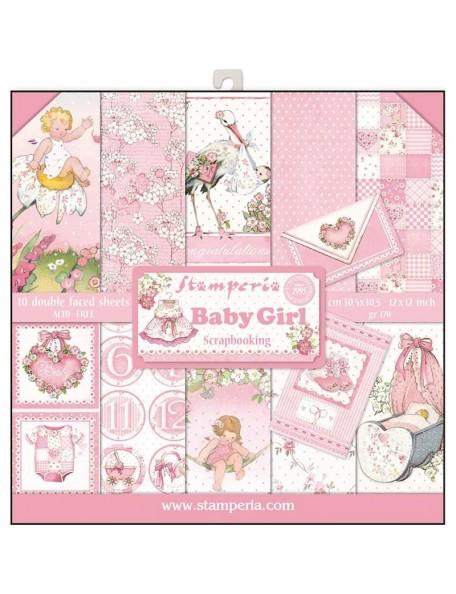 """Stamperia Paper Pad de doble cara 12""""X12"""", Baby Girl, 10 Diseños/1 de cada"""