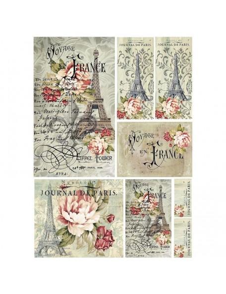 Stamperia Rice Paper Sheet A4, Voyage En France