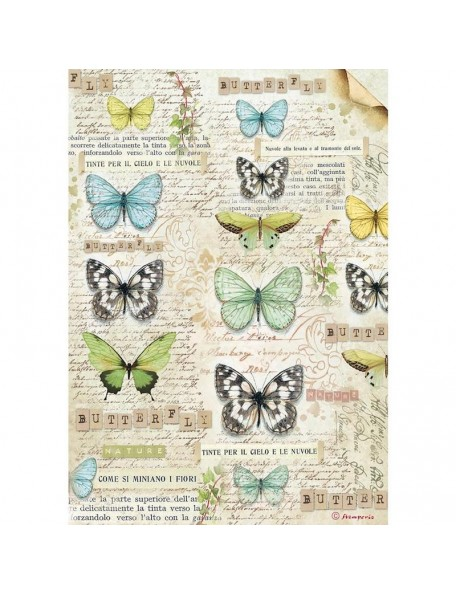 Stamperia Papel de Arroz Hoja A4, Butterfly