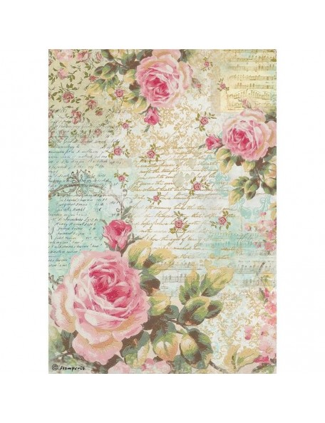 Stamperia Papel de Arroz Hoja A4, Rose & Writings