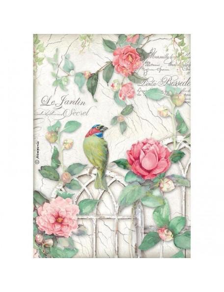 Stamperia Rice Paper Sheet A4, Gate W/Bird