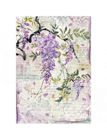 Stamperia Rice Paper Sheet A4, Wisteria