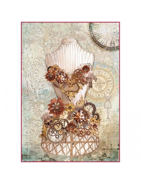 Stamperia Papel de Arroz Hoja A4, Clockwise Mannequin