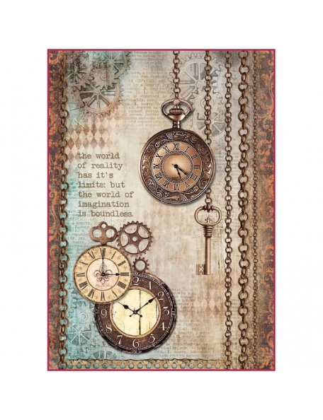 Stamperia Papel de Arroz Hoja A4, Clockwise Clock & Keys