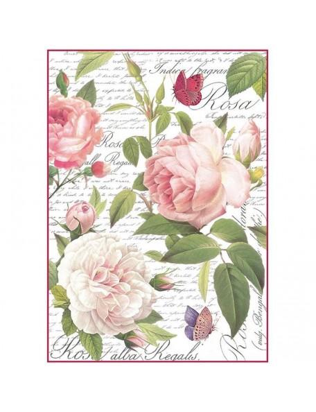 Stamperia Papel de Arroz Hoja A4, Vintage Rose
