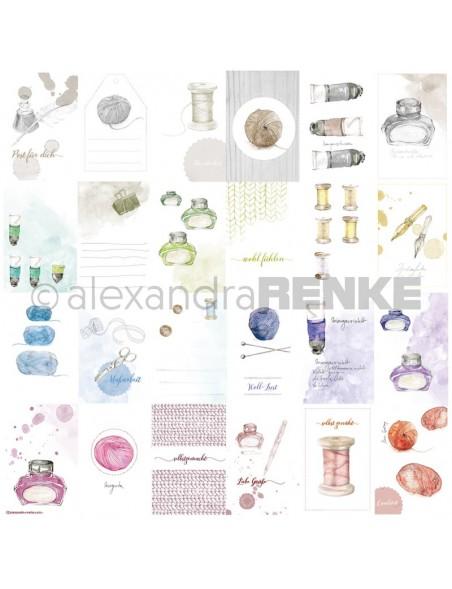 Alexandra Renke Cardstock de una cara 30,5x30,5, Tarjetas Hilo-Lana/Kärtchenbogen Wolle Garn