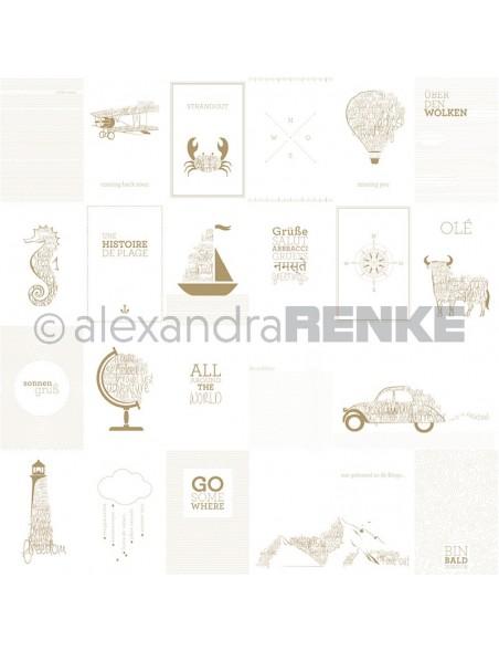 Alexandra Renke Cardstock de una cara 30,5x30,5, Tarjetas Viaje, Dorado/Kärtchenbogen Reisen, gold