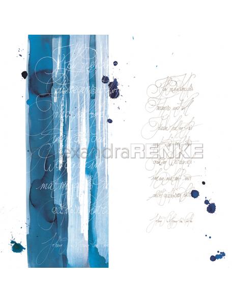 Alexandra Renke Cardstock de una cara 30,5x30,5, Caligrafía Azul/Kalligraphie blau