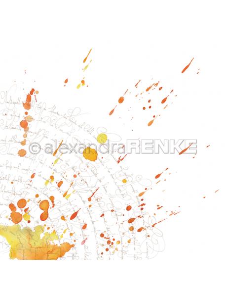 Alexandra Renke Cardstock de una cara 30,5x30,5, Caligrafía Amarilla, Naranja/Kalligraphie gelb orange