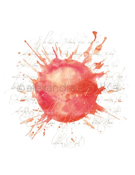 Alexandra Renke Cardstock de una cara 30,5x30,5, Caligrafía Rojo, Naranja/Kalligraphie rot orange