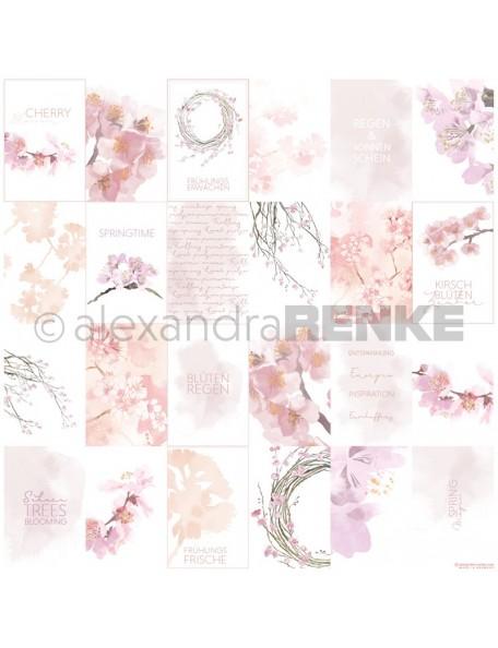Alexandra Renke Cardstock de una cara 30,5x30,5 cm, Tarjetas Flor de Cerezo/Kärtchenbogen Kirschblüten