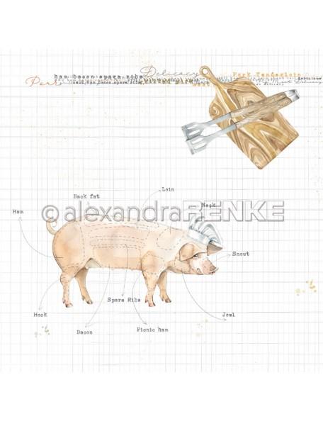 Alexandra Renke Cardstock de una cara 30,5x30,5, Cerdo Gourmet