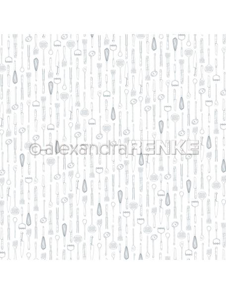 Alexandra Renke Cardstock de una cara 30,5x30,5 cm, Utensilios de Cocina/Küchenwerkzeuge blau