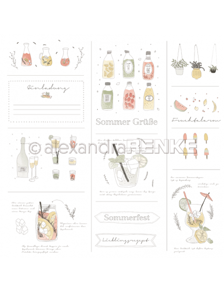 Alexandra Renke Cardstock de una cara 30,5x30,5 cm, Las Bebidas de Lena/Lenas Getränke