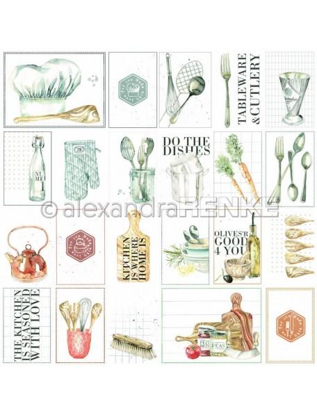 Alexandra Renke Cardstock de una cara 30,5x30,5 cm, Tarjetas Cocina es.../Kärtchenbogen Kitchen is...