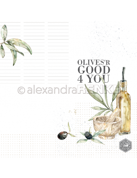 Alexandra Renke Cardstock de una cara 30,5x30,5 cm, Olives 'r good 4 you