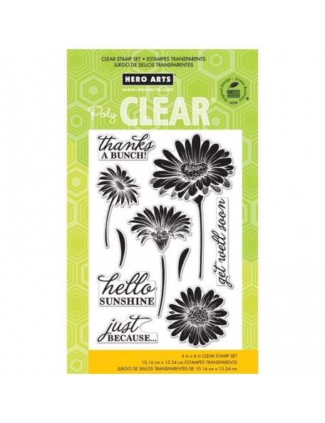 "Hero Arts Clear Stamps 4""X6"", Hello Sunshine Daisies"
