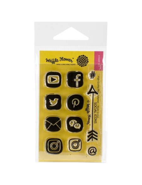 """Waffle Flower Crafts Clear Stamps 2""""X3"""", Social Icon"""