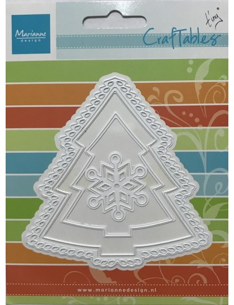 "Marianne Design Craftables Dies, 3 Christmas Trees/Snowflake Up To 4""X4"""