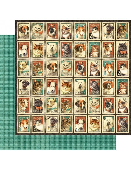 "Graphic 45 Raining Cats & Dogs Cardstock de doble cara 12""X12"", Mr. Whiskers"