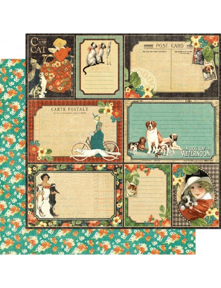"Graphic 45 Raining Cats & Dogs Cardstock de doble cara 12""X12"", Four Legged Friend"