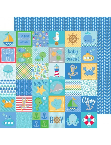 "Doodlebug Anchors Aweigh Cardstock de doble cara 12""X12"", Little Sailor"