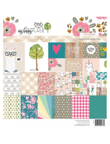 "Webster's Pages Paper Pad 8""X8"" 24, My Happy Place, 12 Designs/2 Each"