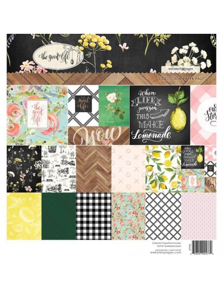 "Webster's Pages Paper Pad de doble cara 8""X8"" 24, The Good Life, 12 Designs/2 de cada"