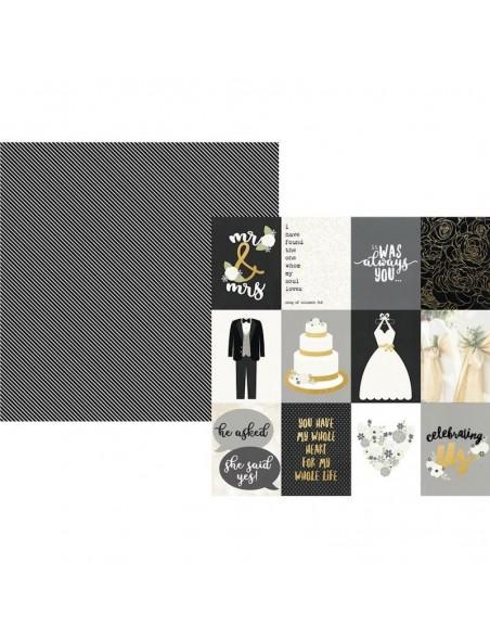 "Simple Stories Always & Forever Cardstock de doble cara 12""X12"", 3""X4"" Elements"