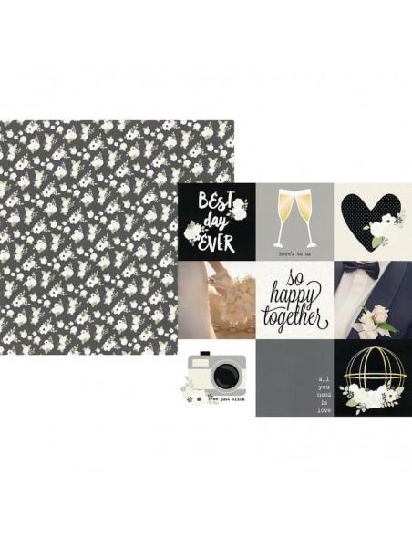 "Simple Stories Always & Forever Cardstock de doble cara 12""X12"", 4""X4"" Elements"