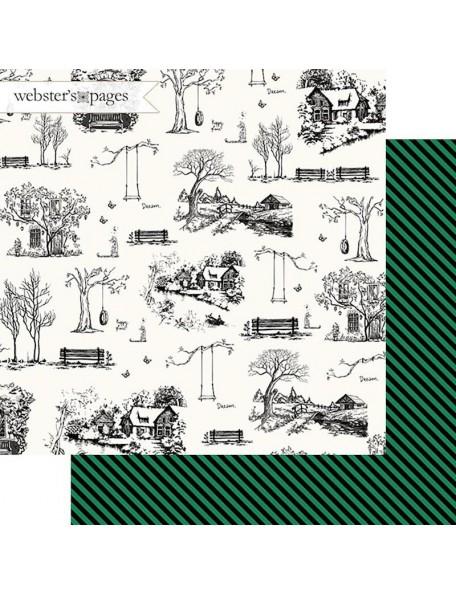 "Webster's Pages The Good Life Cardstock de doble cara 12""X12"", Good Life Sketch"