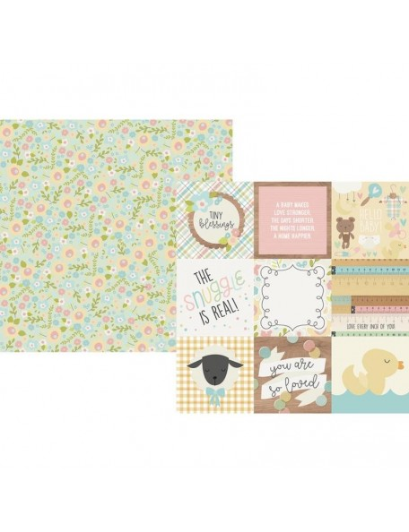 "Simple Stories Oh Baby! Cardstock de doble cara 12""X12"", 4""X4"" Elements"