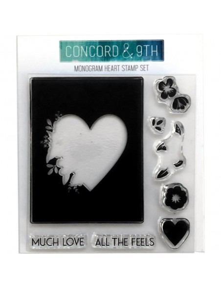 "Concord & 9th Clear Stamps 4""X4"", Monogram Heart"
