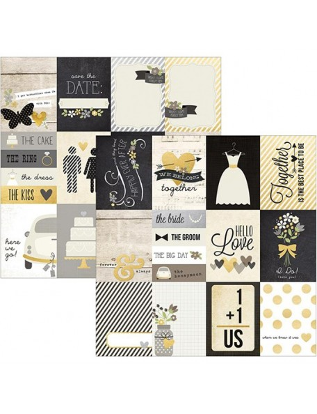 """Simple Stories The Story Of Us Elements Cardstock de doble cara 12""""X12"""", 3""""X4"""" Journaling Cards"""