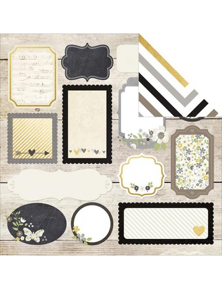 """Simple Stories The Story Of Us Elements Cardstock de doble cara 12""""X12"""", Happily Ever After"""