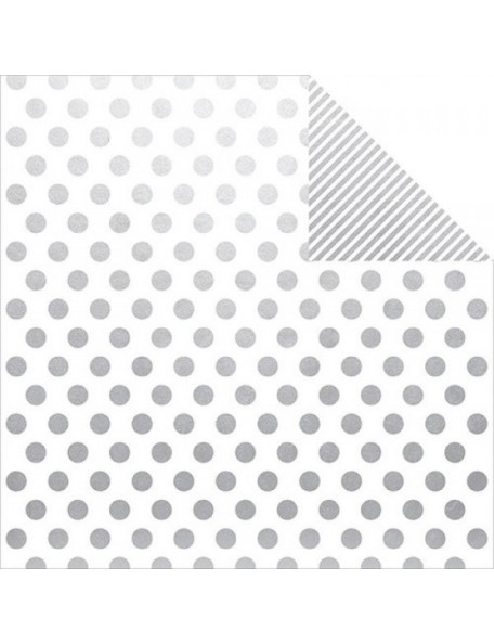 """Simple Stories The Story Of Us Elements Cardstock de doble cara 12""""X12"""", Silver Dot/Stripe Simple Basic"""