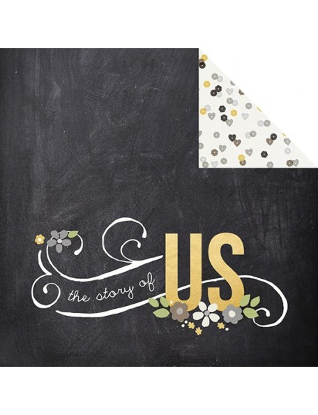 "Simple Stories The Story Of Us Elements Cardstock de doble cara 12""X12"", Love Story"