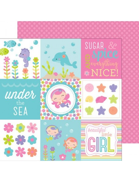 "Doodlebug Under The Sea Cardstock de doble cara 12""X12"", Pink Pearls"