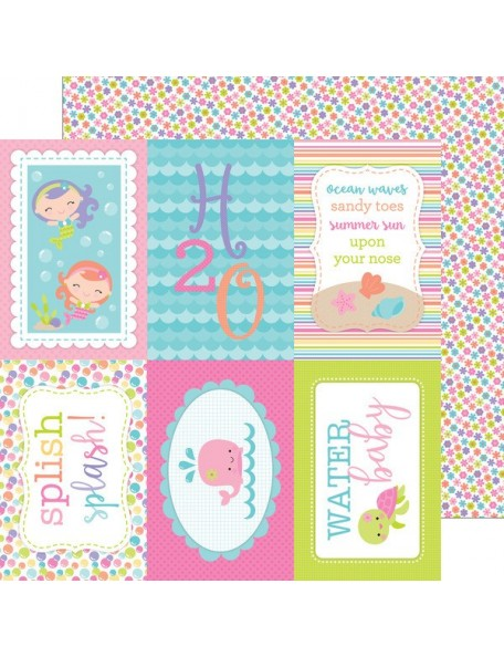 "Doodlebug Under The Sea Cardstock de doble cara 12""X12"", Water Lilies"