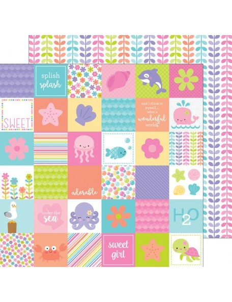 "Doodlebug Under The Sea Cardstock de doble cara 12""X12"", Coral Reef"
