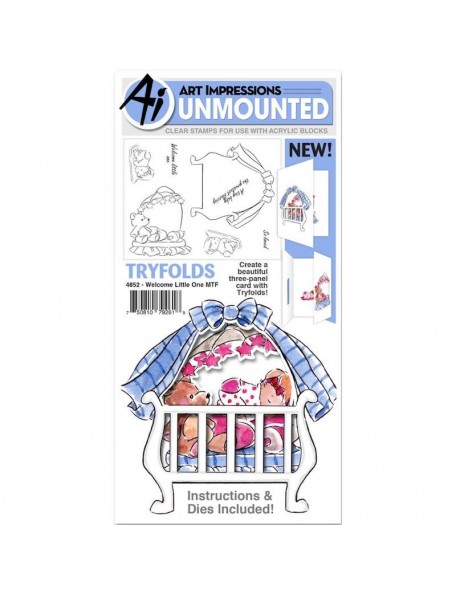 Art Impressions Mini TryFolds Stamp & Die Set, Welcome Little One