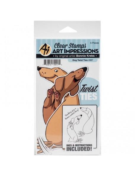 Art Impressions Twist Ties Set de Sello y Troquel, Perro/Dog