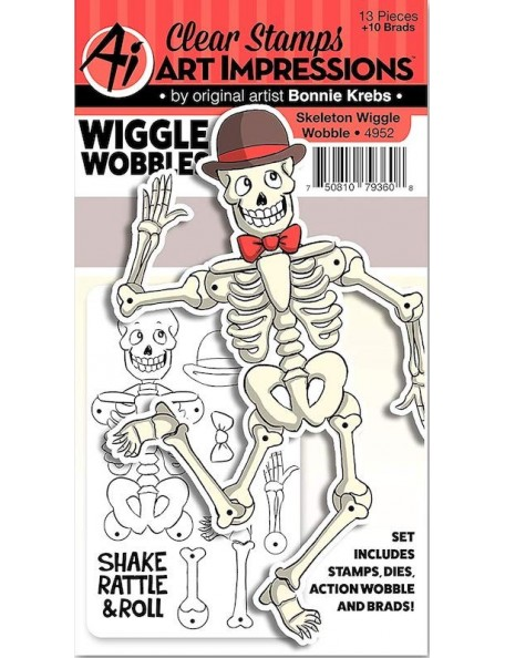 Art Impressions Wiggle Wobbles Stamp & Die Set, Skeleton DESCATALOGADO