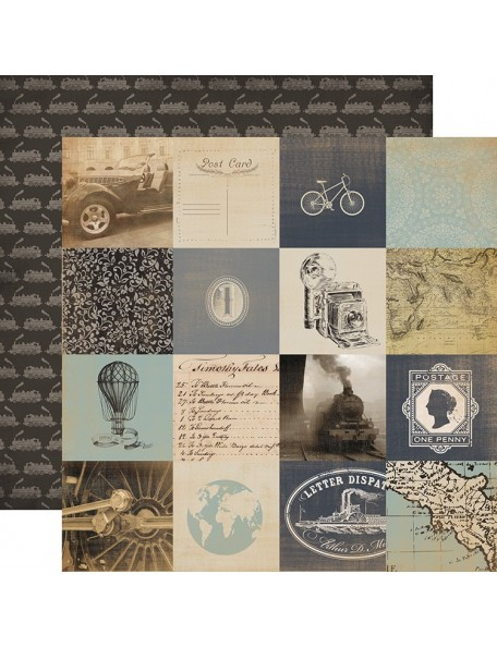 "Carta Bella Old World Travel Cardstock de doble cara 12""X12"", 3X3"" Cards"