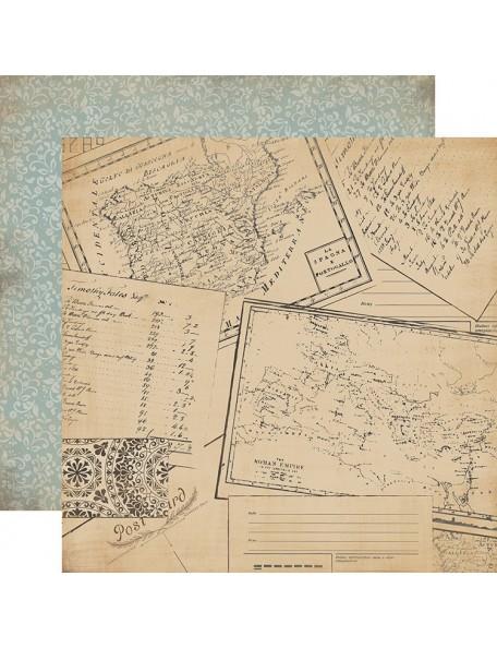 "Carta Bella Old World Travel Cardstock de doble cara 12""X12"", Travel The World"