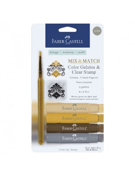 Faber-Castell Mix & Match Gelatos & Stamp Kit-Neutral