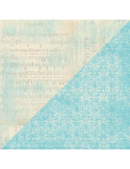 "Authentique Cuddle Boy Cardstock de doble cara 12""X12"", no. 4 Lullabye Sheet Music/Blue Flourish"