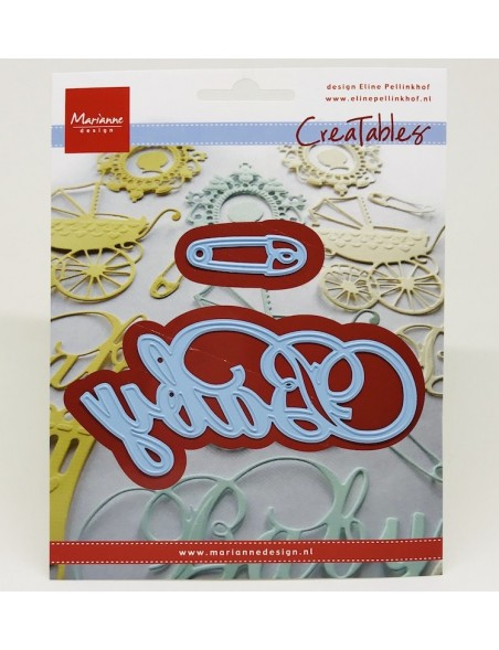 "Marianne Design Creatables Dies, Baby Text & Safety Pin, 4""X2"" & 1.5""X.5"""